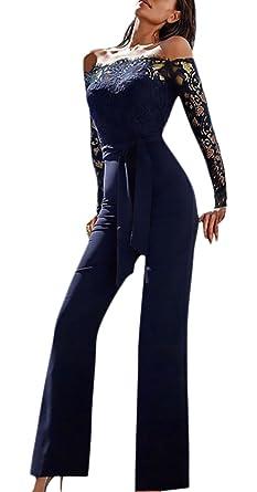 e3e78a912f99 Monos De Vestir Mujer Fiesta Largos Elegantes Vintage Encaje Splicing  Jumpsuit Para Bodas Manga Larga Hombros Descubiertos Slim Monos Largos Mono  ...