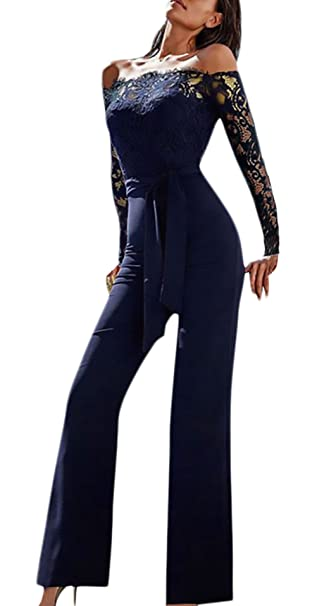 9b65191ec Monos De Vestir Mujer Fiesta Largos Elegantes Vintage Encaje Splicing  Jumpsuit Para Bodas Manga Larga Hombros Descubiertos Slim Monos Largos Mono  Fiesta ...