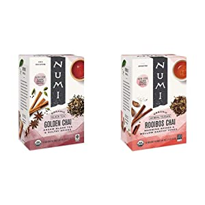 Numi Organic Tea Golden Chai, 18 Count Box of Tea Bags, Black Tea (Packaging May Vary) & Organic Tea Rooibos Chai, 18 Count Box of Tea Bags, Herbal Teasan, Caffeine-Free (Packaging May Vary)