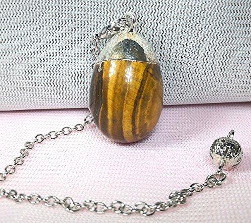 - 1 Pcs 1.4 Inchs Semi-precious Stone Egg Shaped Divination Pendulum Pendant Amulet (Tiger Eye)