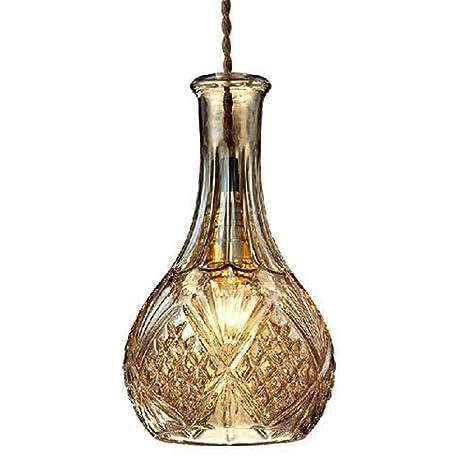 LED de vidrio colgante de luz Moderno simple creativo de vidrio ámbar talla botella de diseño