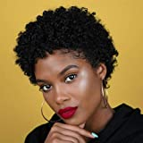 Short Afro Curly Human Hair Wigs for Black Women Pixie Cut Kinky Curly Short Wigs 150% Density Afro Wig for African…