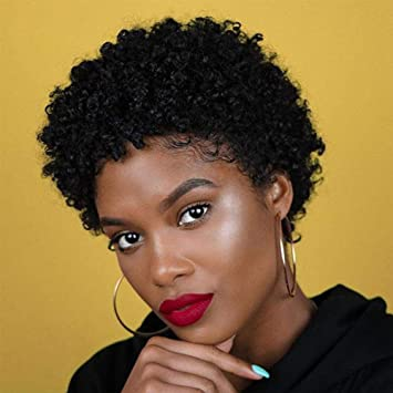 Amazon Com Short Afro Curly Human Hair Wigs For Black Women Pixie Cut Kinky Curly Short Wigs 150 Density Afro Wig For African American Replacement Wigs Natural Black Color 1b Beauty