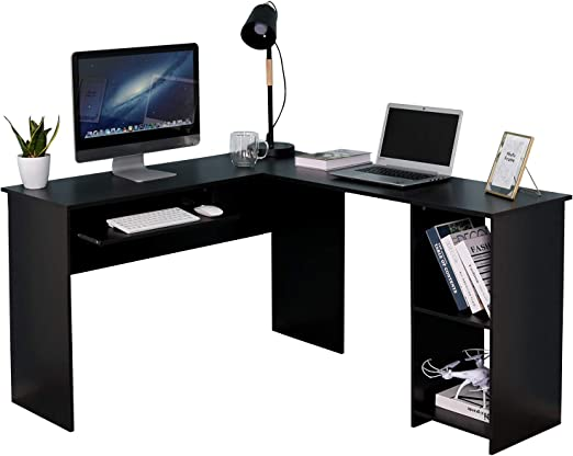 Black Wooden Corner Desk Laptop Writing Student Home Office Furniture Table