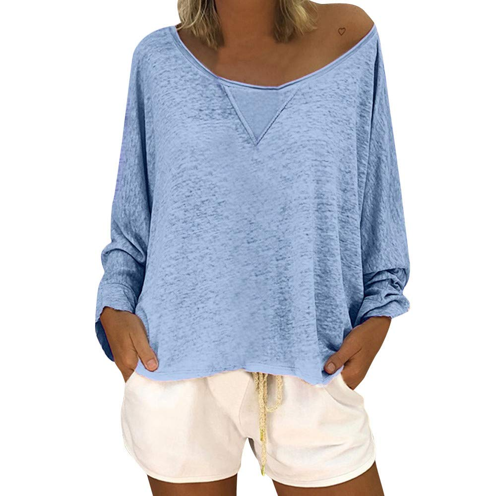 Shirts for Women Off The Shoulder Casual Loose Long Sleeve Neck Solid Color Blouse SamMoSon 8317596237