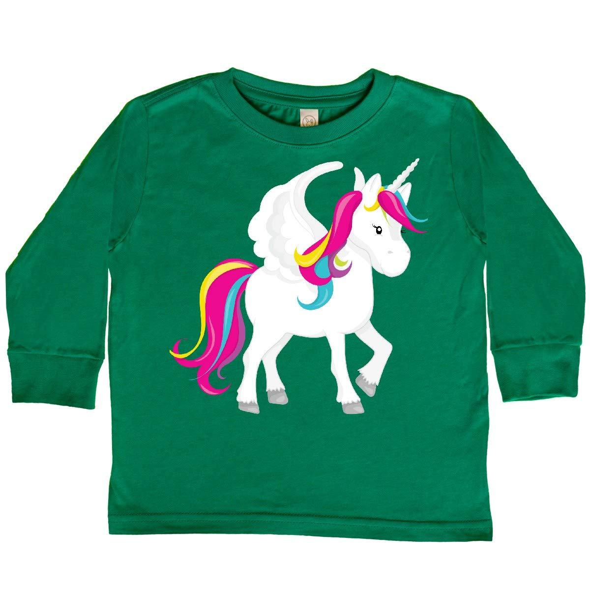inktastic Rainbow Unicorn with Wings Toddler Long Sleeve T-Shirt