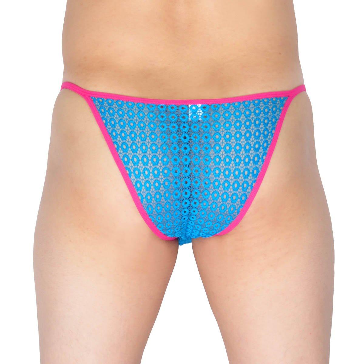 Lemja Mens Hollow Bikini Briefs Lace Mini Brief Pouch Jacquard Male Underwear Rope Pants