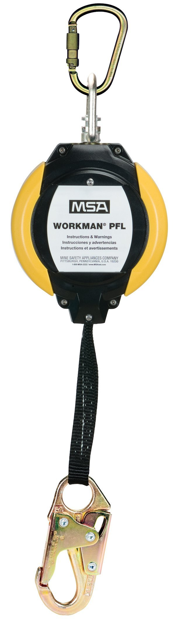 MSA Safety 10093353 Workman Web ANSI-Certified Personal Fall Limiter with 36C Steel Snap Hook and 1-Inch Steel Carabiner, 12-Feet Line