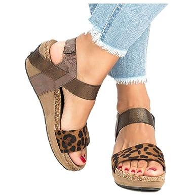 62b86c08da Womens Leopard Open Toe Ankle Strap Sandals - Summer Casual Espadrilles  Flatform Wedge Party Dress Shoes