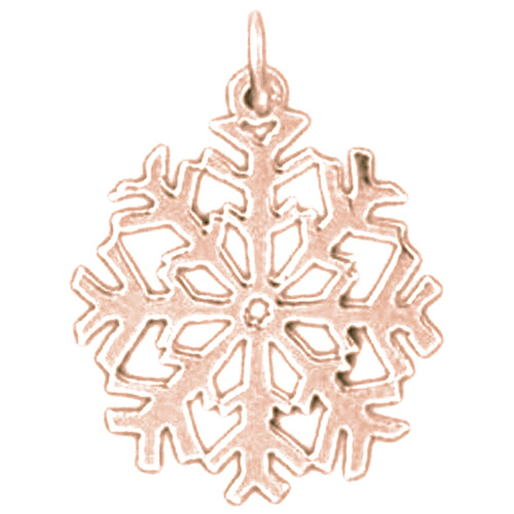 14K Rose Gold-plated 925 Silver Snow Flake Pendant with 16 Necklace Jewels Obsession Snow Flake Necklace