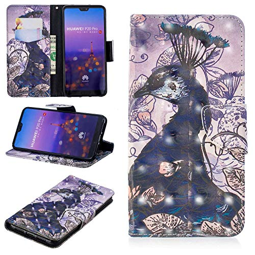 CUSKING Huawei P20 Pro Case, Premium 3D Design Wallet Case Stand Flip Case with Card Holders and Magnetic Closure, Multi-Functional Shockproof Case for Huawei P20 Pro - Peacock by CUSKING (Image #6)