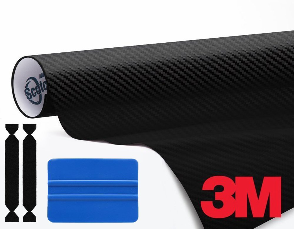 3M 1080 Black Carbon Fiber 1ft x 5ft Vinyl Car Wrap Tool Kit