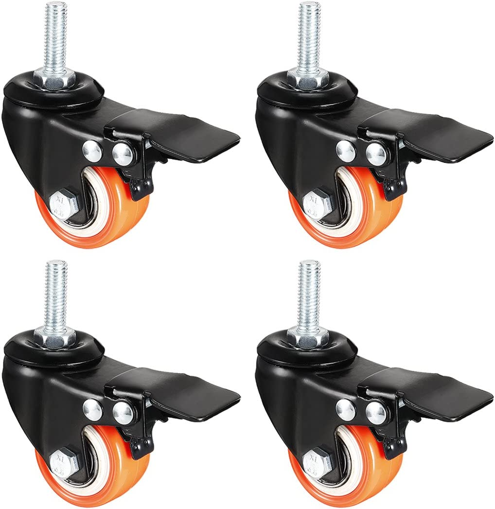 uxcell 1.5 Inch Swivel Caster Wheels PU 360 Degree Threaded Stem Caster Wheel Orange with Brake, M8 x 25mm, 330lb Total Load Capacity, Pack of 4