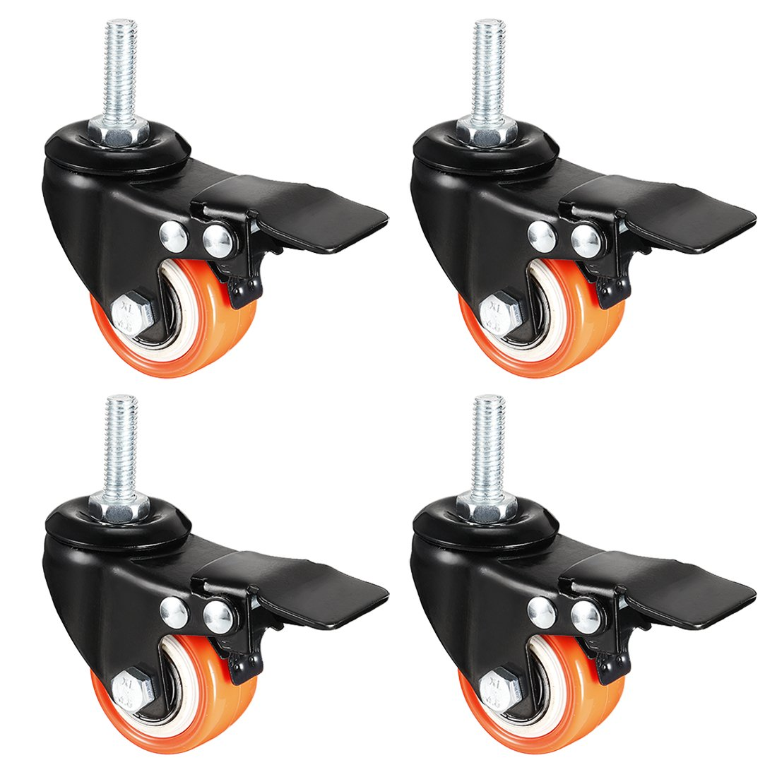 Sourcingmap Ruedas giratorias PU 360 grados v/ástago roscado rueda naranja