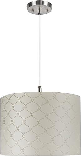 Aspen Creative 71021 Two-Light Pendant with Hardback Drum Shaped Spider Shade, 8 x 8 x 11, Beige Jacquard