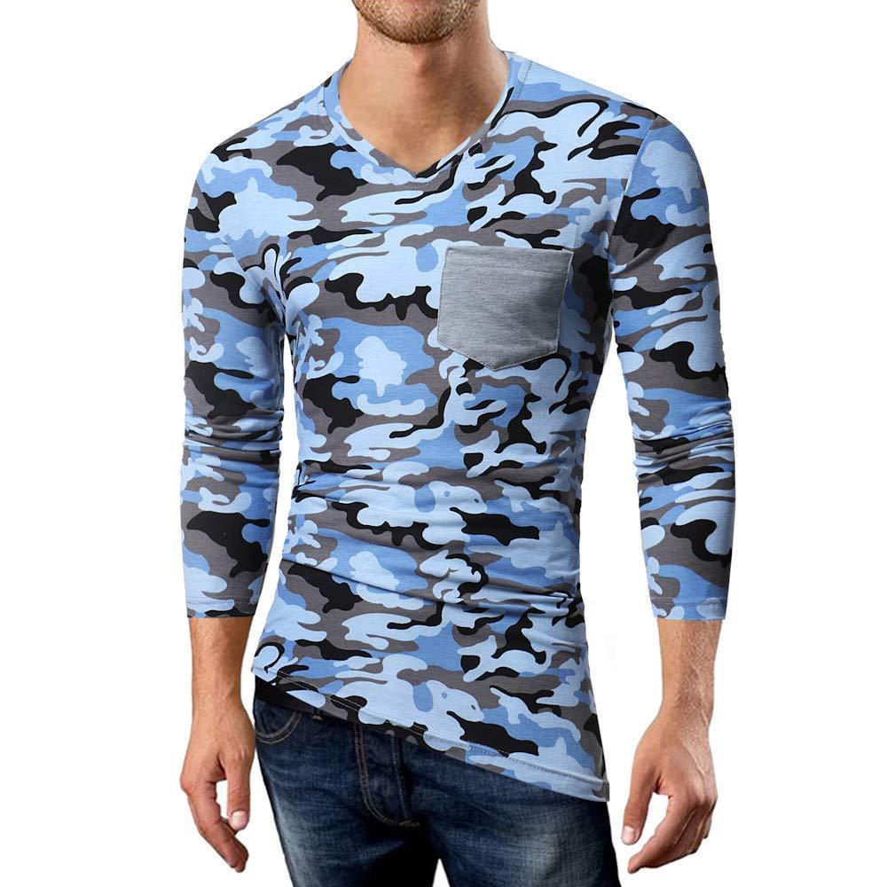 ... Camiseta de Manga Larga con Cuello en V de Manga Larga y Patchwork de Camuflaje Casual de otoño de los Hombres del Camuflaje Casual para Hombre Blusa ...