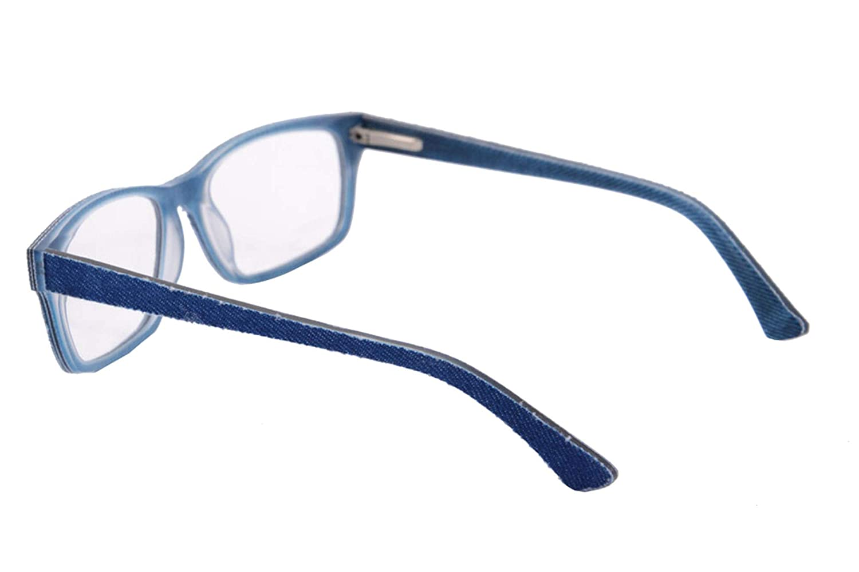 Replaceable lens-006 Clear Lens Glasses Frames UOOUOO Denim and Acetate Eyewear Frames