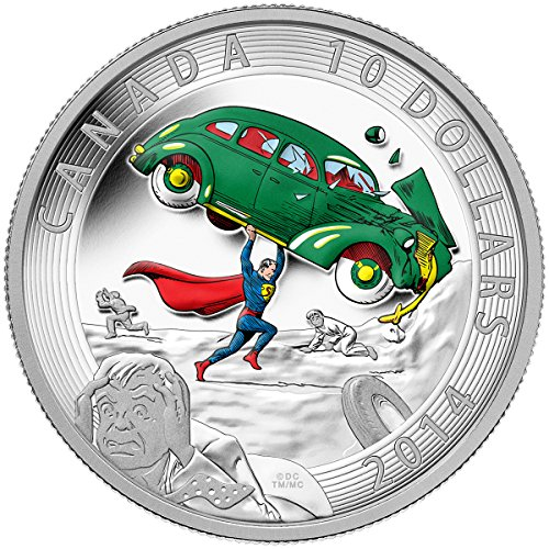 [2014 Mint Proof 1/2 Oz. Fine Silver Coin - Iconic SupermanTM Comic Book Covers: Action Comics #1 From 1938 - Mintage: 10,000 $10 Mint] (Famous Superhero Costumes)
