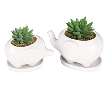 Amazon Com Set Of 2 Cute Elephant Flower Pot Modern White Ceramic