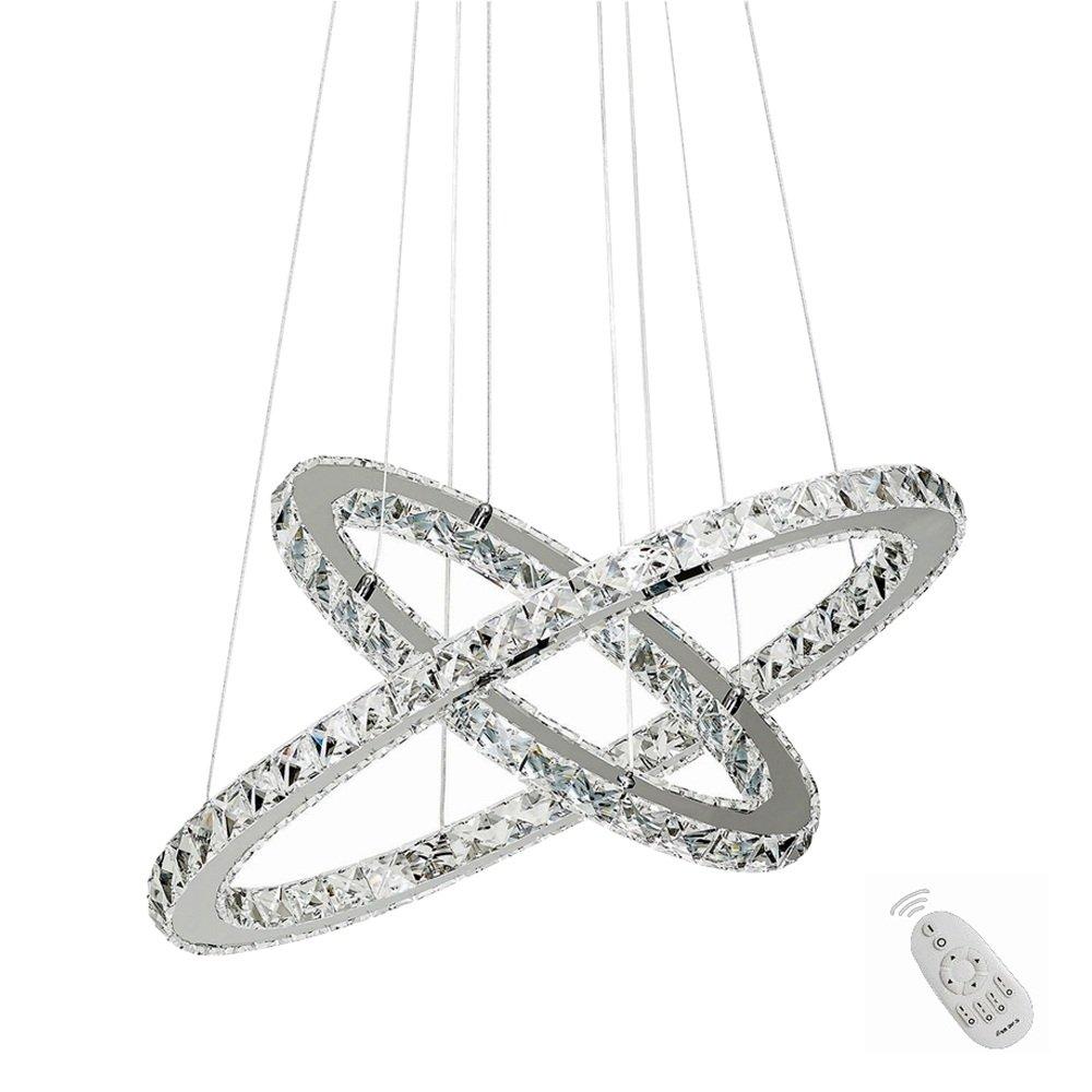 SAILUN 96W LED Kristall Design Hängelampe Drei Ringe(Φ: 30cm+50cm+70cm) Deckenlampe Pendelleuchte Kreative Kronleuchter Warmweiß Lüster (96W Warmweiß) [Energieklasse A++] Generic