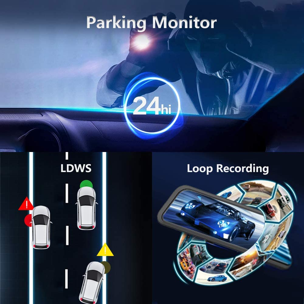 "LDWS Night Vision Sony Sensor,Front and Rear View Dual Lens Parking Assistance WOLFBOX 12/"" Mirror Dash Cam Backup Camera,1296P Full HD Smart Rearview Mirror for Cars Free 32GB Card /& GPS"