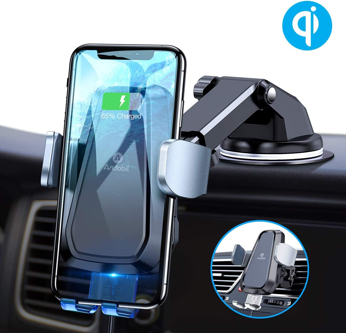 Andobil Wireless Car Charger, Qi Safe Fast Charging 10W7.5W Auto Clamping Car Wireless Charger Vent Dash Car Phone Holder for iPhone SE1111 Pro