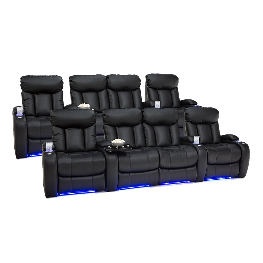 Seatcraft Orleans Leather Gel Home Theater Seating Power Recline, Two Rows of 4 with Middle Loveseat, Black