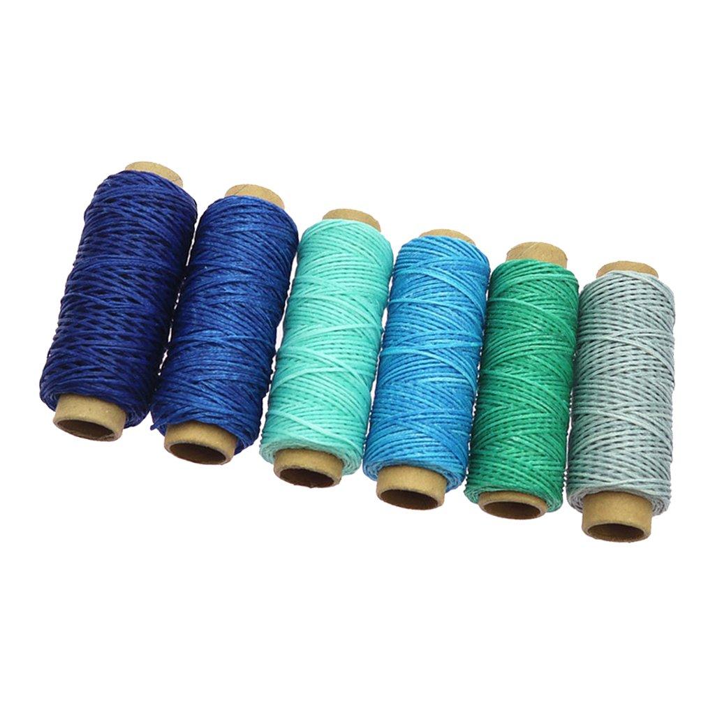 B Baosity 6 Pezzi 50 Metri Rocchetti In Pelle Cucito Cotone Filo Cerato Per Artigianato In Pelle 1mm - verde, come descritto
