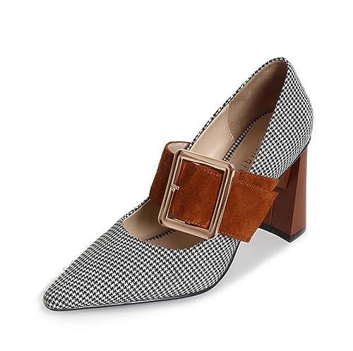 4631a93d62d Zapatos de Tacón Alto para Mujeres Zapatos de Punta Estrecha Desnudos Negro/Marrón  Talla 34