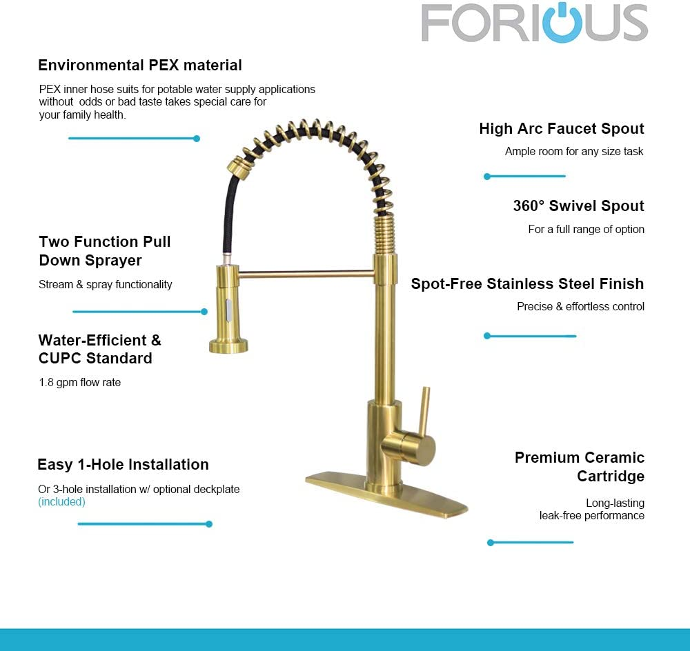 Commercial Spring Kitchen Sink Faucet With Pull Out Sprayer Brush Nickel Single Handle Kitchen Faucets With Deck Plate Forious Kitchen Faucet With Pull Down Sprayer Kitchen Bath Fixtures Tools Home