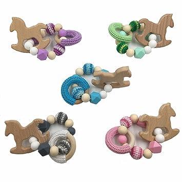 Coskiss 5pcs Bebé de madera de haya Mordedor caballo de madera para la dentición Montessori juguetes del traqueteo del bebé de bricolaje masticables ...