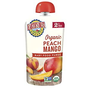 Earth's Best Organic Stage 2 Baby Food, Peach Mango, 4 Oz Pouch (Pack of 12) (Packaging May Vary)