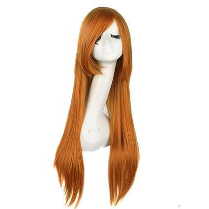 MapofBeauty 80cm/31 pulgada largo lacio seorita lacio anime traje Pelucas (naranja)