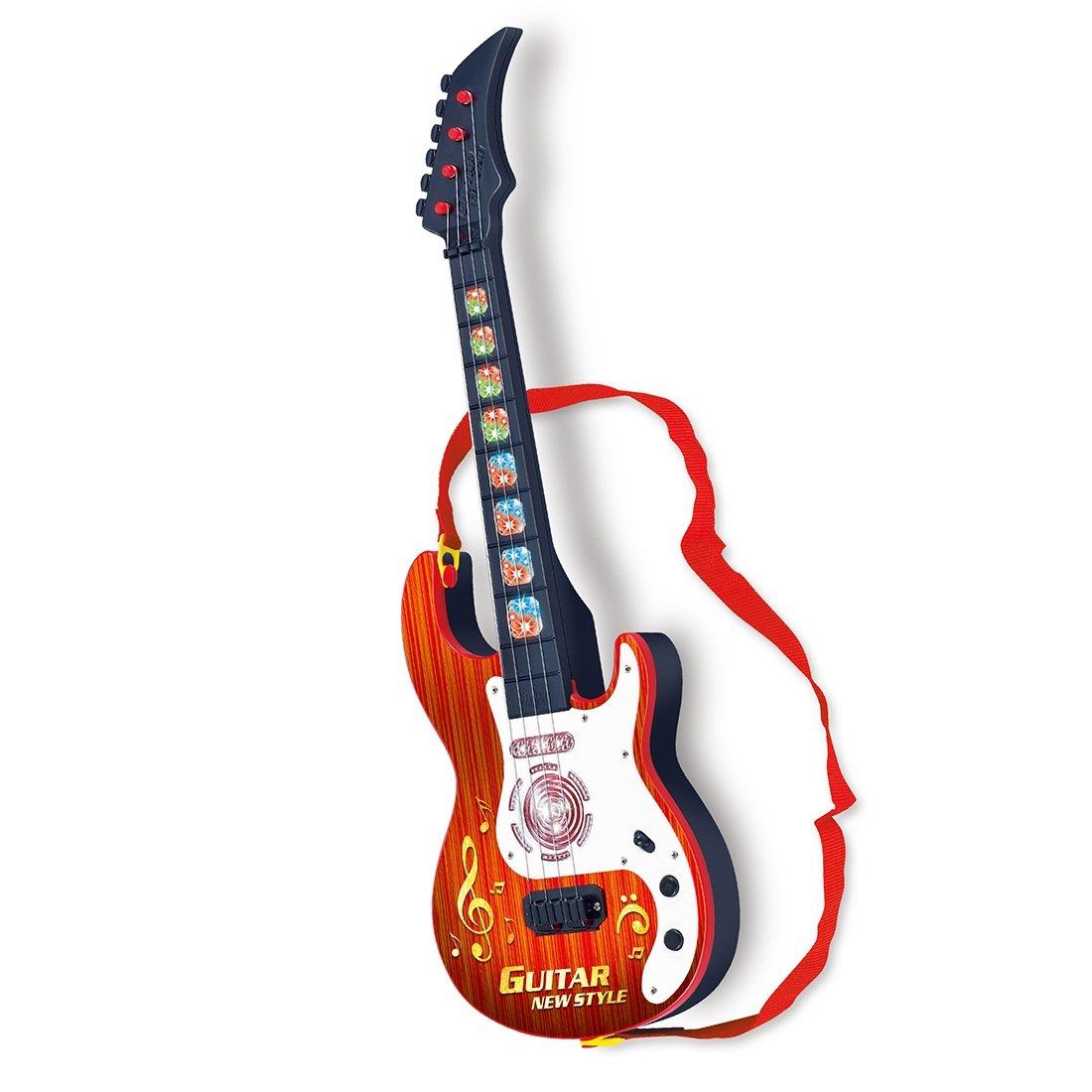 Kindergitarre, Vicoki 4 Saiten Kinder Musikinstrumente Musik Gitarre Spielzeug mit Licht und Spielfunktion für Pädagogisches