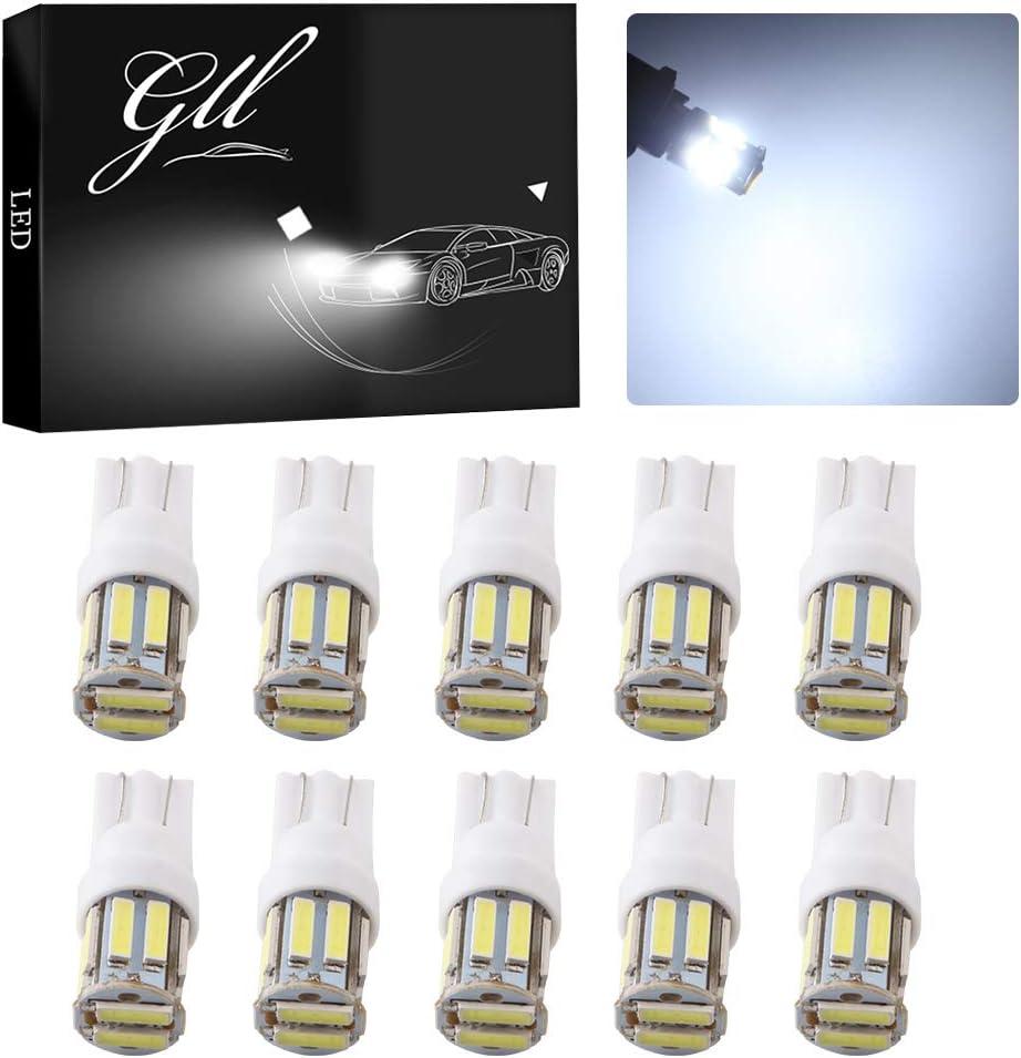 Bombillas LED blancas Grandview T10 W5W 501, para colocar en interior de vehículos o en la placa de matrícula trasera y delantera, 24 V de CC, 10 unidades