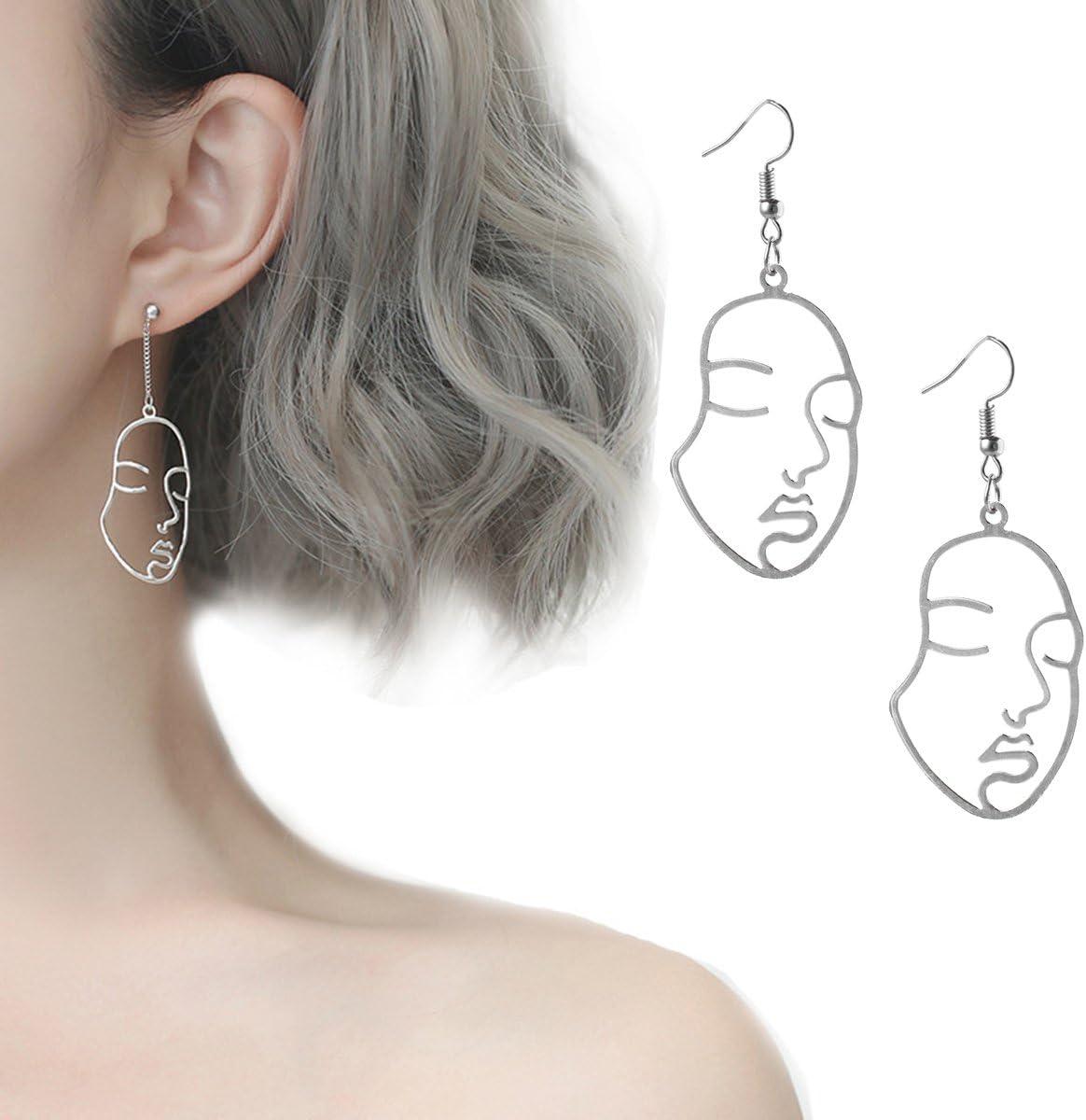 Tpocean - Pendientes colgantes de metal con diseño abstracto de cara estilo gótico, vintage, Harajuku, etc. Para mujeres y niñas