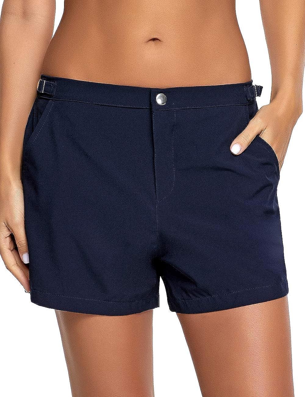 Utyful Womens Casual Lace Up Elastic Waist Swimsuit Bottom Beach Board Shorts