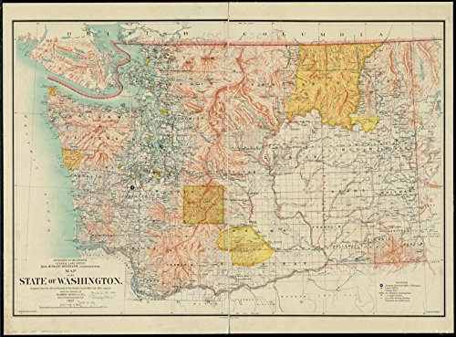 Rare 1897 Antique (Historic Map | 1897 Map of the state of Washington | Antique Vintage Reproduction)