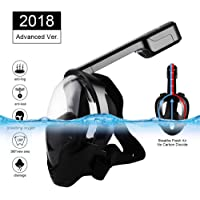 Eartime Full Face Snorkel Mask w/Adjustable Head Straps Design for Adults