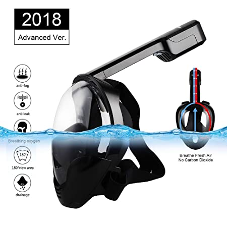 Full Face Snorkel Mask, Eartime 180 Panoramic View Anti-fog Anti-leak Easy Breathe Snorkel Mask with Adjustable Head Straps Design for Adults, Youth, kids