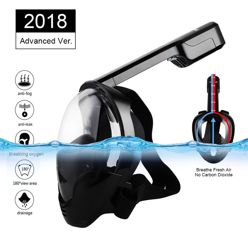 Eartime Updated Version Snorkeling Mask Full Face Panoramic, Stop carbon dioxide, three-layer silicone ring leakproofness, antifogging and 2 Airway Innovation Full Dry Snorkel Set (BK, L/XL) by Eartime