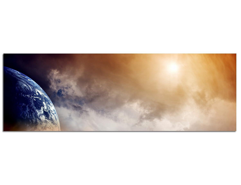 Panoramabild XXL auf Leinwand und Keilrahmen 180x70cm Weltall Planet Erde Wolken Dunst