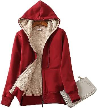 Obosoyo Women's Casual Winter Warm Sherpa Lined Thick Zip Up Hooded Sweatshirt Jacket Coat