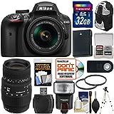 Nikon D3400 Digital SLR Camera & 18-55mm VR DX AF-P Zoom (Black) 70-300mm Lens + 32GB Card + Case + Flash + Battery + Tripod + Filters + Kit