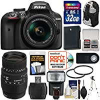 Nikon D3400 Digital SLR Camera & 18-55mm VR DX AF-P Zoom (Black) with 70-300mm Lens + 32GB Card + Case + Flash + Battery + Tripod + Filters + Kit