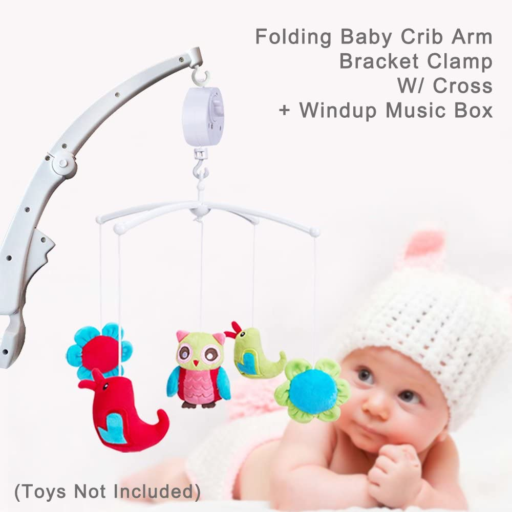 W// Cross /& Windup Music Box ColorfulStream Folding Baby Crib Arm Bracket Clamp Tune: BRAHMS LULLABY Toys Not Included