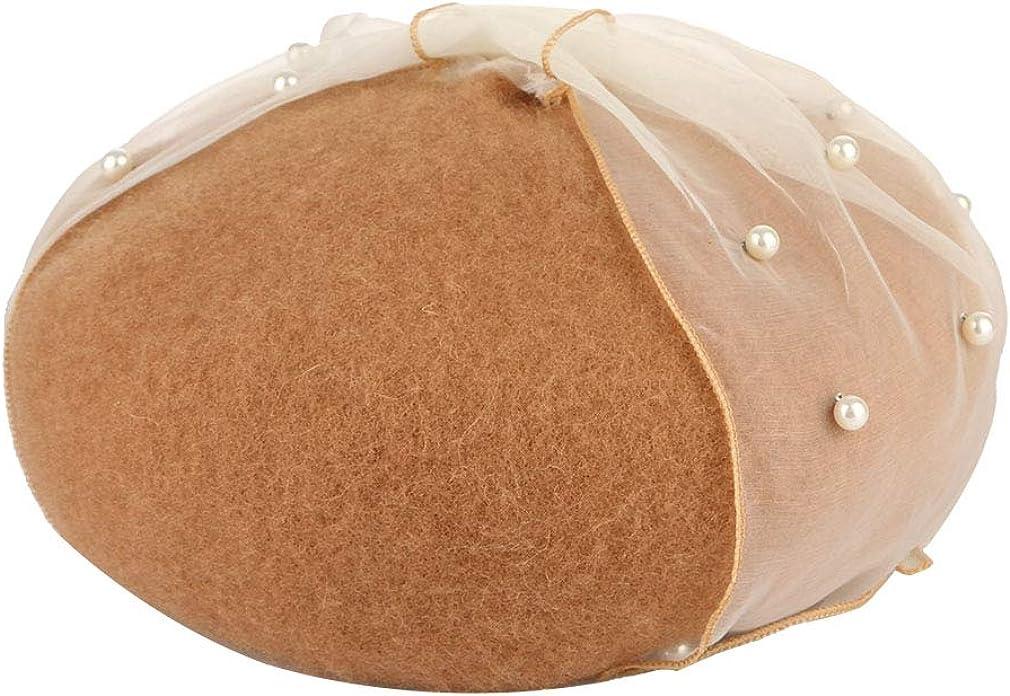 GEMVIE B/éret Femme en Laine Bonnet Vintage Calotte R/églable Chapeau de Peintre Perle Voilette N/œud /à Papillon Automne//Hiver
