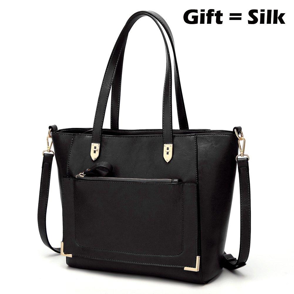 Women's Purses and Handbags Stylish Ladies Designer Satchel Top-handle Tote Shoulder Bags,QUEENTOO(B-Black) by QUEENTOO