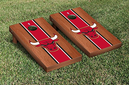 Chicago Bulls NBA Basketball Cornhole Game Set Rosewood Stained Stripe Version by Victory Tailgate