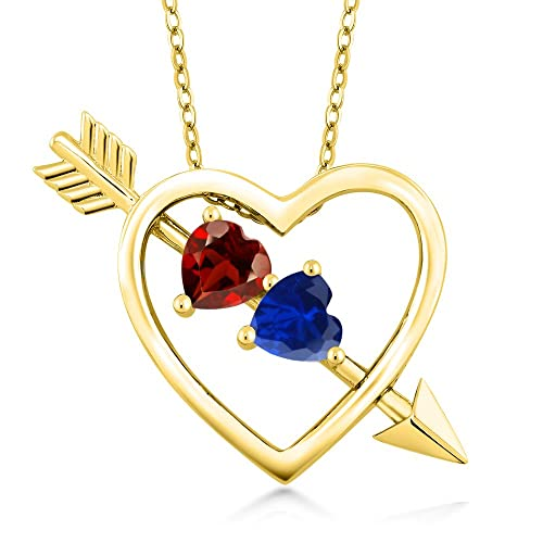 Gem Stone King Build Your Own Pendant – 2 Heart Shape Stones 18K Yellow Plated Silver Heart Birthstone Necklace